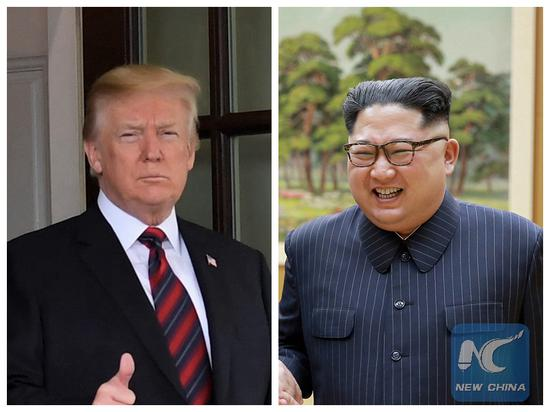 This file combination photo created on June 2, 2018 shows U.S. President Donald Trump (L) and Kim Jong Un (R), top leader of the Democratic People's Republic of Korea (DPRK). (Xinhua)