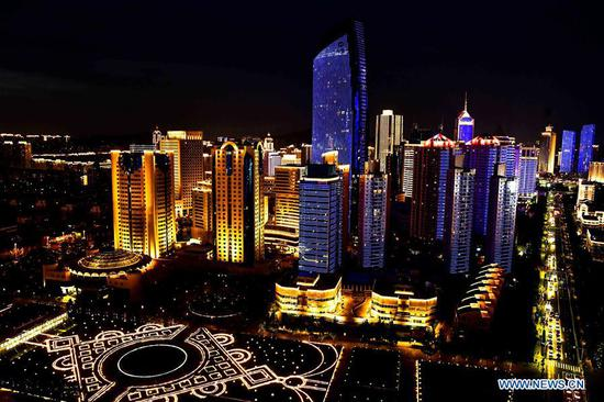 Night view of 18th SCO summit host city Qingdao