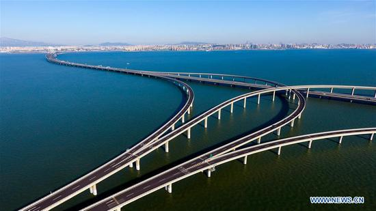 Aerial view of Qingdao Jiaozhou Bay Bridge in east China