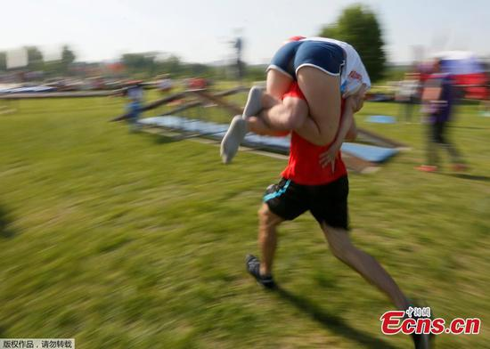 Wife-carrying race in Russian city