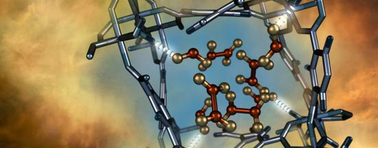 Illustration of a nitrogen dioxide molecule (depicted in red and gold) confined within a nano-sized pore of an MFM-300(Al) metal-organic framework material as characterized using neutron scattering at Oak Ridge National Laboratory.  (Photo via Oak Ridge National Laboratory)