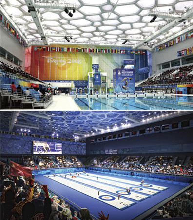 The National Aquatics Center, host to swimming events (above) during the 2008 Games, will be transformed into the 2022 Games' curling venue, as shown in the computer generated image (below). (PROVIDED TO CHINA DAILY)