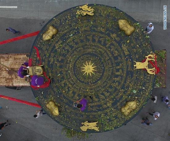 Giant bronze drum in China's Guangxi