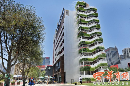Xi'an building goes viral for misty wall of plants