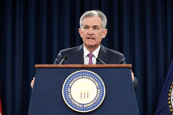 U.S. Federal Reserve Chairman Jerome Powell speaks during a news conference in Washington D.C., the United States, on June 13, 2018. The U.S. Federal Reserve on Wednesday raised short-term interest rates by a quarter of a percentage point, its second rate hike this year. (Xinhua/Yang Chenglin)