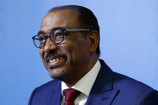UNAIDS Executive Director Michel Sidibe speaks during an interview with Xinhua News Agency at the United Nations headquarters in New York, on June 12, 2018. China is playing a great role in fighting AIDS, Michel Sidibe said Tuesday at the UN headquarters after his report on the latest progress of the agency's struggle against AIDS. (Xinhua/Li Muzi)