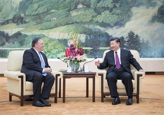 Chinese President Xi Jinping meets with U.S. Secretary of State Mike Pompeo at the Great Hall of the People in Beijing, capital of China, June 14, 2018. (Xinhua/Li Tao)