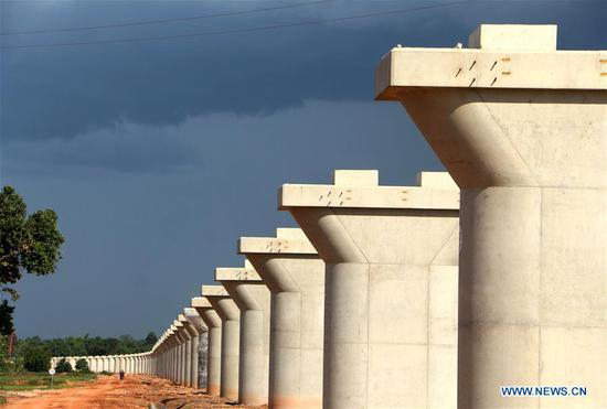 Main construction work of longest bridge along China-Laos railway completed