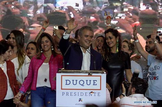 Right-wing candidate Duque wins Colombia's presidential election