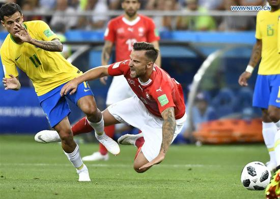 Brazil and Switzerland draw 1-1 in Group E match in Rostov-on-Don