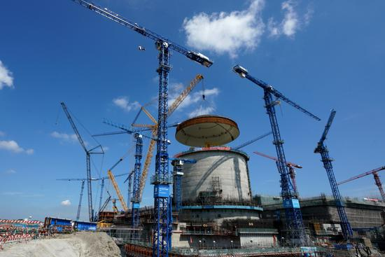 The building of a nuclear power station nears completion in Fangchenggang, the Guangxi Zhuang autonomous region, on May 23. (Photo provided to China Daily)