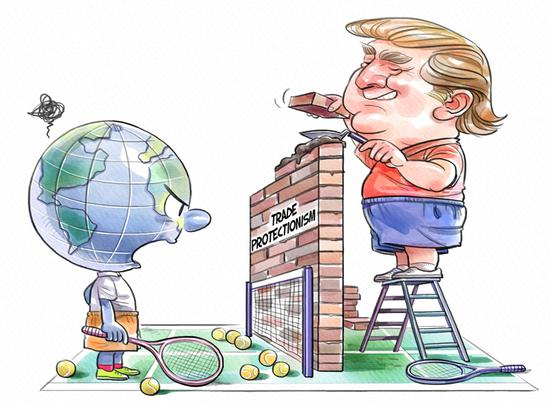 This cartoon shows U.S. President Donald Trump launches trade protectionism. (Li Min/China Daily)
