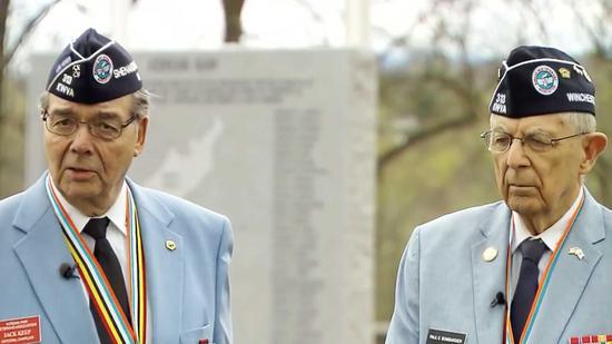 Korean War veterans: Paul Bombardier (R) and Jack Keep /CGTN Photo
