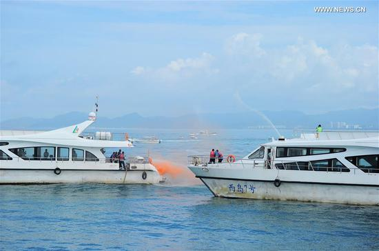 Emergency drill on securing marine transportation held in Sanya