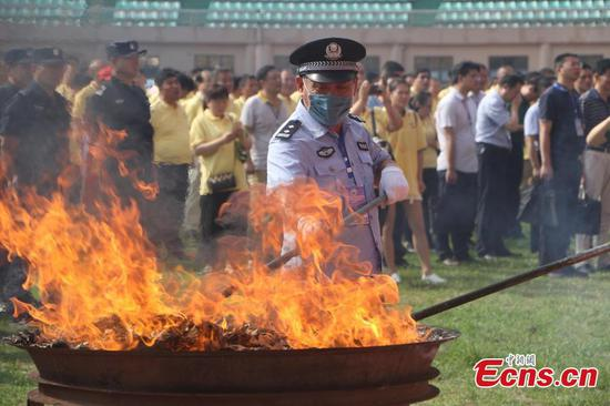 Anhui police destroy drugs ahead of international day
