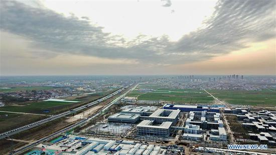Aerial photo taken on March 29, 2018 shows the citizen service center of Xiong'an in North China's Hebei Province, March 29, 2018. (Photo/Xinhua)