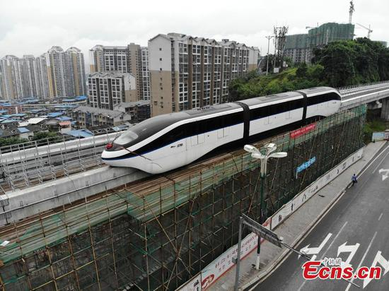 Elevated railway under test in Sichuan