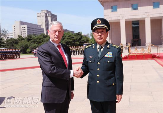 General Wei Fenghe, China's defense minister, meets with his US counterpart James Mattis in Beijing, June 27, 2018.  (Photo/mod.gov.cn)