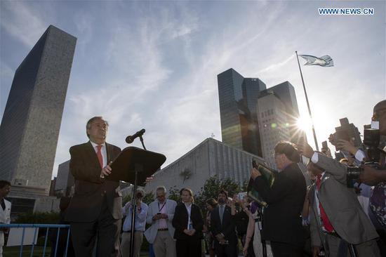 United Nations Secretary-General Antonio Guterres (L, Front) addresses the 70th anniversary celebration of the United Nations Correspondents Association (UNCA) at the UN headquarters in New York, on June 26, 2018. (Xinhua/Li Muzi)