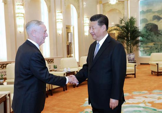 Chinese President Xi Jinping meets with visiting U.S. Secretary of Defense James Mattis in Beijing, capital of China, June 27, 2018. (Xinhua/Li Gang)