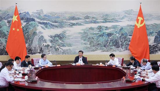 Chinese President Xi Jinping, also general secretary of the Communist Party of China (CPC) Central Committee and chairman of the Central Military Commission, talks with the new leadership of the Communist Youth League of China (CYLC) Central Committee in Beijing, capital of China, July 2, 2018. (Xinhua/Wang Ye)