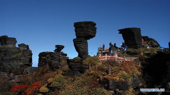 Tourists visit Mount Fanjingshan in Tongren, southwest China's Guizhou Province, Nov. 8, 2017. Mount Fanjingshan was inscribed to the World Heritage List on Monday at the 42nd World Heritage Committee meeting in Bahrain. It is the 13th site in China included on the World Natural Heritage List, making the total number of world heritage sites in China reach 53. (Xinhua/Wu Haihui)