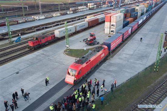 Photo taken on Nov. 27, 2017, shows the Xiang Ou Express Budapest-Changsha return freight train in Budapest, Hungary. (Xinhua/Attila Volgyi)
