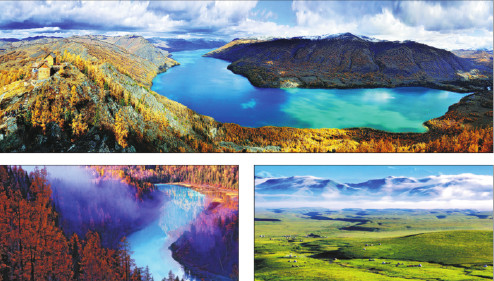 July marks the start of the peak tourism season in Xinjiang when travelers get to enjoy the best scenery the region has to offer, such as sights of the Kanas Lake (top and left below) and the Nanat grasslands. (Photo provided to China Daily)