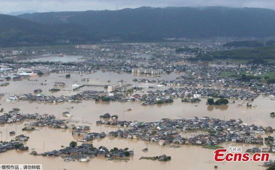A flooded area is seen after heavy rain in Kurashiki, Okayama Prefecture, Japan, July 8, 2018.  (Photo/Agencies)