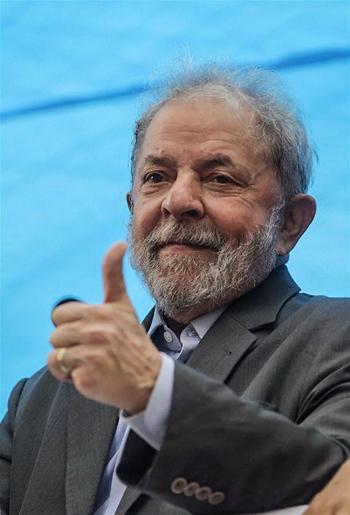 Photo taken on Jan. 23, 2018 shows former Brazilian president Luiz Inacio Lula da Silva, during an event before his trial, in Porto Alegre, Brazil. (Xinhua)