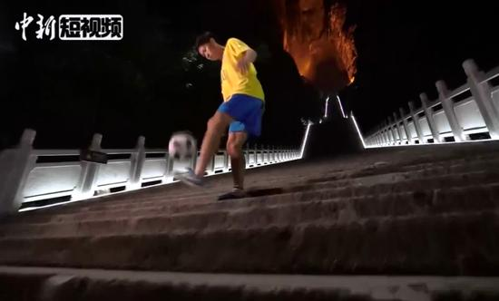 Two players juggle a ball up 'Stairway to Heaven'