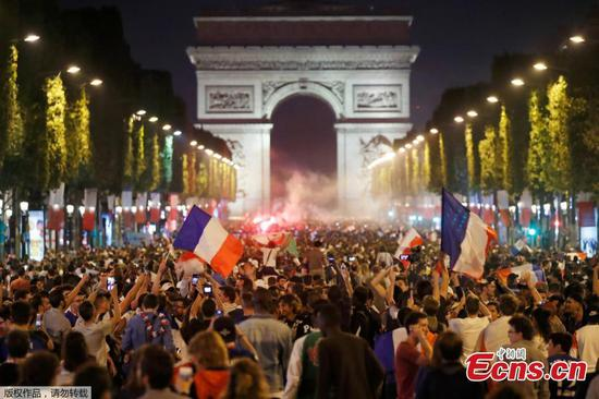 Fans celebrate France victory over Belgium in World Cup semi-final