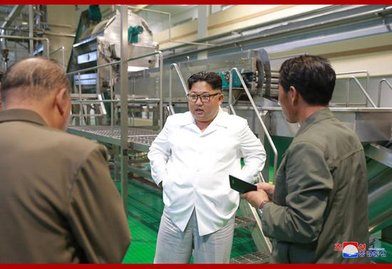 Kim Jong Un inspected a potato farina production factory in Samjiyon County, KCNA reported on July 10, 2018. /KCNA Photo