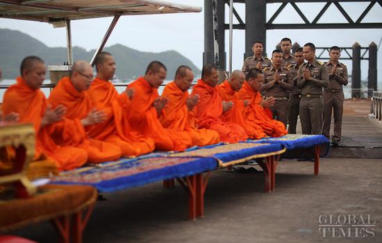 The Phuket government held a Buddhist ceremony for the victims of the Thai shipwreck at Chalong Pier on Wednesday morning. Forty-five people were confirmed dead in the accident, with two still missing