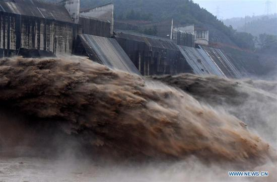 Water gushes out from Xiaolangdi Reservoir on Yellow River in Henan