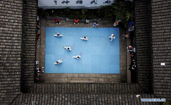 Children practise martial arts at Wenzhou Wushu Museum