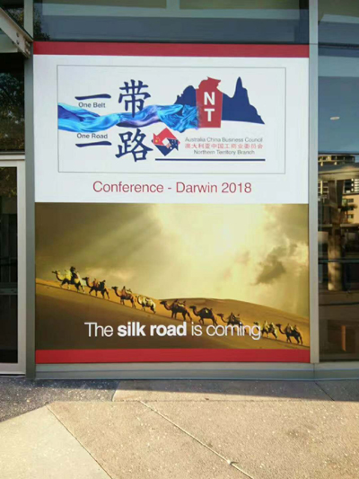 An advertisement board for the Belt and Road Initiative is seen in Darwin, Australia. (Photo courtesy of Daryl Guppy)