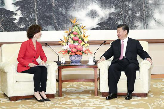 President Xi Jinping meets with Director-General of the United Nations Educational, Scientific and Cultural Organization (UNESCO) Audrey Azoulay in Beijing, July 16, 2018. (Photo/Xinhua)