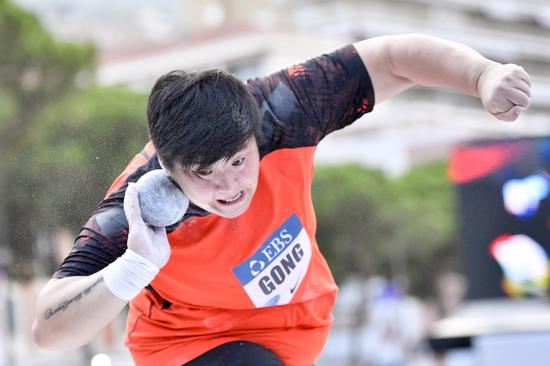 Chinese shot putter Gong crowned at IAAF Diamond League Monaco meeting