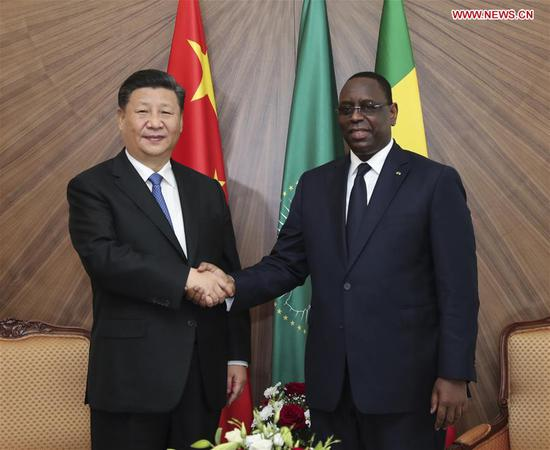 Chinese President Xi Jinping and Senegalese President Macky Sall hold talks in Dakar, Senegal, July 21, 2018. (Xinhua/Xie Huanchi)