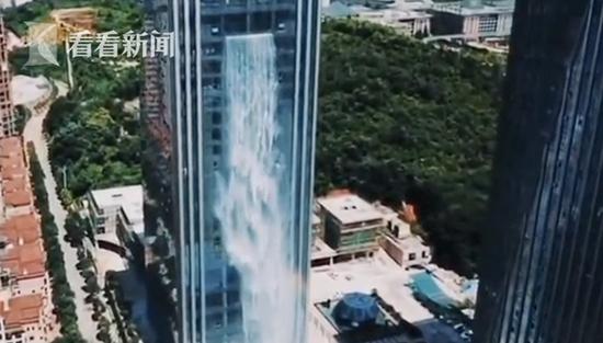 108m artificial waterfall makes a splash in Guizhou