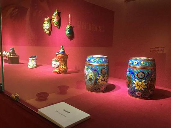 A major exhibition on cloisonne enamel opened in Beijing on July 17 to celebrate the fifth anniversary of the launch of the Belt and Road Initiative. (Photo by Wang Kaihao/China Daily)
