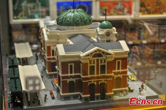 Over 40,000 Lego pieces to create Shenyang railway station replica