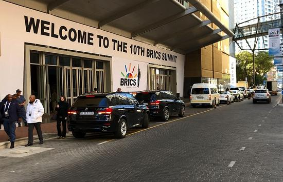 The entrance of the Sandton Convention Center in Johannesburg, South Africa, which is the venue for the 10th BRICS summit, July 23, 2018. /CGTN Photo
