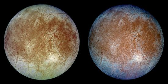 This image shows two views of the trailing hemisphere of Jupiter's ice-covered satellite, Europa. /NASA Photo