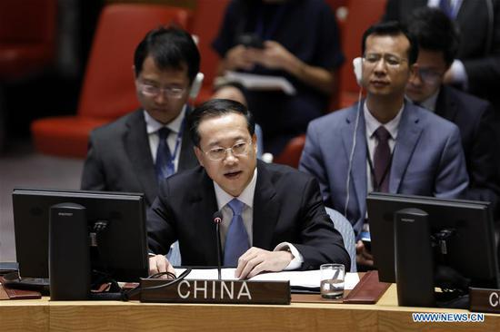 Chinese permanent representative to the United Nations Ma Zhaoxu speaks at the UN Security Council's open debate on the Middle East situation at UN headquaters in New York, on July 24, 2018. Ma said Tuesday that the