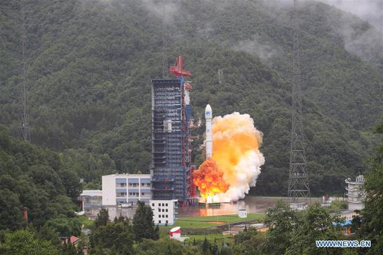 China sends twin satellites into space via the Long March-3B carrier rocket from Xichang Satellite Launch Center in Xichang, Southwest China's Sichuan province, July 29, 2018. (Photo/Xinhua)