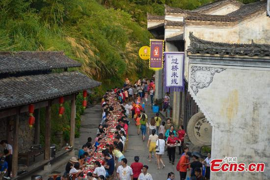 Long banquet held in ancient village