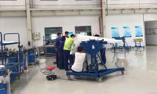The assembly workshop of CETC Wuhu Diamond Aircraft Manufacture Company Limited. (Photo/CGTN)