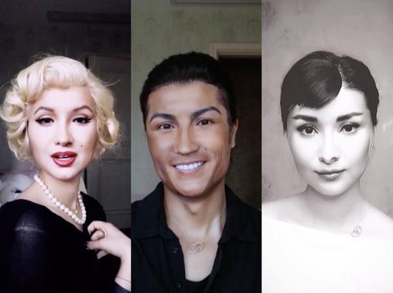 He Yuhong has transformed herself into a variety of celebrities over the past few months, including Marilyn Monroe, Audrey Hepburn, even Cristiano Ronaldo. /Courtesy of He Yuhong